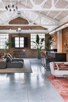 This warm, industrial Spanish loft has gorgeous views, cool architecture, great modern decor. Home Decor Wall Art, Living Room Decor, Warm Industrial, Small Condo, Modern Loft, Spanish House, Loft Spaces, Trendy Home, Interior Design Studio