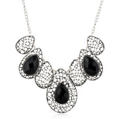 Water Droplets Gem Short Necklace Maxi Vintage Pendants Fine Chain Collar Choker Gros Necklace For Women Wedding Jewelry