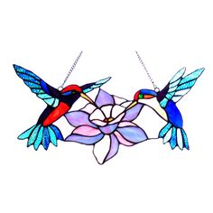 This hand crafted tiffany style hummingbird design window panel/suncather will brighten up any room. The beautiful blue, aqua, pink and red color art glass will add beauty to any setting. Made from over 70 pieces of hand cut art glass.