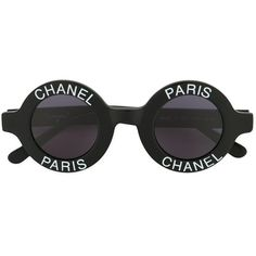 Chanel Vintage logo stamp round sunglasses (94.683.740 IDR) ❤ liked on Polyvore featuring accessories, eyewear, sunglasses, round frame glasses, chanel glasses, round sunglasses, chanel sunglasses and chanel eyewear