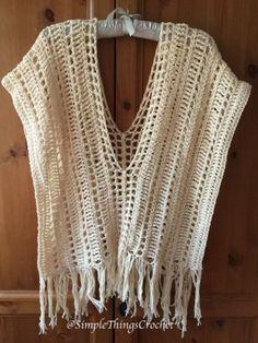 Crochet Poncho Pattern, Ecru Summer Poncho, Easy Crochet Shawl Pattern, Women's Crochet Poncho, Wome - All Photos Poncho Au Crochet, Bonnet Crochet, Mode Crochet, Crochet Beanie, Crochet Scarves, Crochet Clothes, Crochet Stitches, Knit Crochet, Poncho Shawl