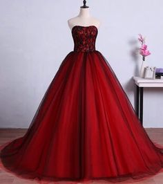 Red and Black Long Prom Dresses for Graduation Tulle Ball Gown Lace Formal  Evening Gowns Dresses 5a6605158aa2