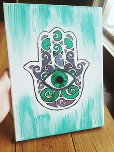 DIY Hamsa Canvas. Watercolor paints. All materials from Michaels Craft Store.