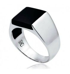 Black Onyx Stone Men Ring in Sterling Silver from Turkstyleshop.com | Silver Jew...