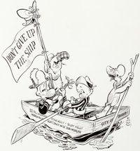 Walt Kelly Pogo: Don't Give Up the Ship Illustration Original Art (Publishers-Hall Syndicate, 1973)