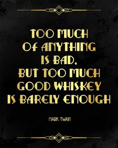 Mark Twain quote about whiskey. Alcohol sign. by PartyGraphix