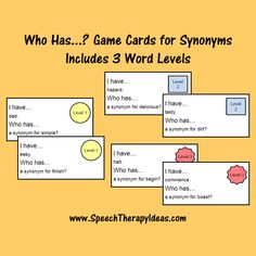 Game Cards for (Includes 3 Word Levels) Speech Therapy Games, Therapy Activities, Therapy Ideas, Game Cards, Card Games, Speech Room, Picture Cards, Speech And Language, School Stuff