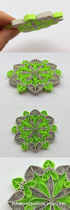 Snowflakes Neon Green Gray Christmas Tree Decor Winter Ornaments Gift Toppers Fillers Office Corporate Paper Quilling Quilled Handmade Art