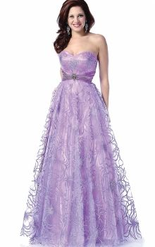 Lilac A-Line/Princess Strapless,Sweetheart Empire Long/Floor-length Sleeveless Zipper Up Prom Dresses Dress