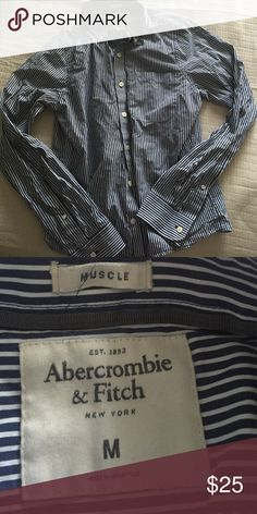 Men's Button Down Flannel/Dress Shirt In excellent condition. My boyfriend wore it twice and decided to get a more oversized one. No holes or stains and comes from a smoke free home ! Price is firm Abercrombie & Fitch Shirts Casual Button Down Shirts