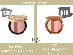 Makeup dupes #bronzers #dupes #nyx #toofaced