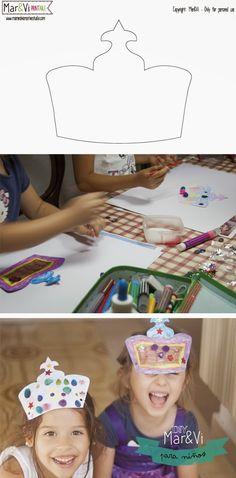 Manualidades para niños, coronas de princesas #freeprintable #princess #crown