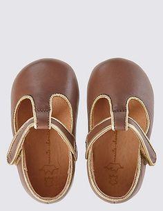 Kids' Leather Riptape T-Bar Shoes