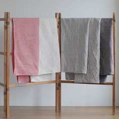 Linen Chambray Towels: Navy Stripe