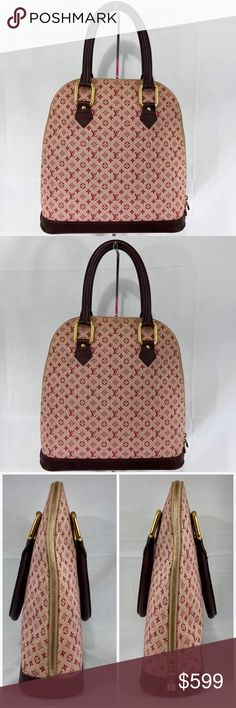 """Authentic LV Pink Mini Lin Haut Alma Long Lovely classic monogram mini in a pink canvas and dark burgundy soft leather trim. Gold hardware, zipper closure, interior zipper pocket and key ring. Interior has mild soil. Exterior has two marks on canvas. Som rubbing on leather bottom corners. Please see all photos. Approximate dimensions are 13"""" long, 13.5"""" tall and 4.25"""" wide. Guaranteed authentic through Poshmark concierge. No trades please. Louis Vuitton Bags Satchels"""