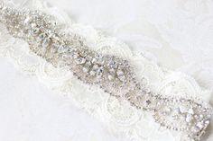 Crystal Jewels On Ivory Romantic Wedding Garter Set