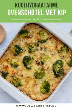 Ovenschotel met kip en groenten This low-carb oven dish is richly filled with chicken, mushrooms, br Low Carb Vegetarian Recipes, Super Healthy Recipes, Healthy Crockpot Recipes, Healthy Foods, Healthy Diners, Good Food, Yummy Food, Food Inspiration, Nutrition
