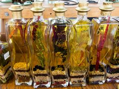 Flavored oils and vinegars by Susanne Liberty Flavored Oils, Holiday Market, Specialty Foods, Vinegar, Gift Guide, Liberty, Glass Vase, Kitchens, Cooking