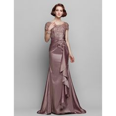 Sheath/Column Scoop Sweep/Brush Train Taffeta And Lace Mother of the Bride Dress