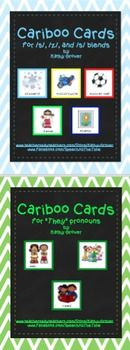 """These 308 cards are designed to fit the top of the Cranium Cariboo game. Print, laminate, and cut carefully around the outside edges of each card. Packet #1   Cariboo Cards for /s/, /z/, and /s/ blends--contains a total of 260 cards.Packet #2   Cariboo Cards for """"They"""" Pronouns--contains a total of 48 cards.Cariboo Cards Bundle:  s, z, & s blends AND They"""" Pronouns by KATHYGROVER is licensed under a Creative Commons Attribution-NonCommercial-NoDerivatives 4.0 International License."""