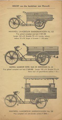Maxwell 1939 c Bicycle Cart, Bicycle Sidecar, Mobile Cafe, Mobile Shop, Bike Trailer, Food Trailer, Velo Vintage, Vintage Bicycles, Bike Food