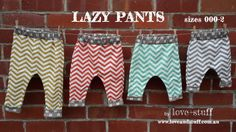 Lovestuff Lazy Pants PDF Pattern in Sizes by Loveandstuffdesigns