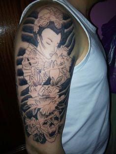 1° sesión de tatuaje estilo japones. Aun sin acabar.