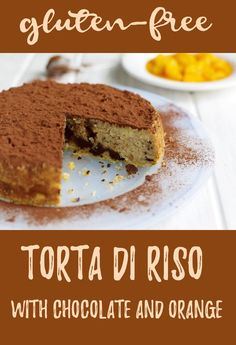 Delicious gluten-free cake made with rice and flavoured with chocolate and orange