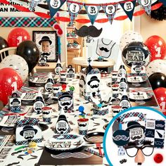 Little Man Mustache 1st Birthday Party Supplies