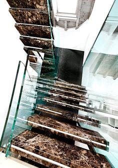 Charmant Emperador Dark Marble Stairs Escalier En Marbre, Escalier Flottant, Escalier  Ouvert, Conception De