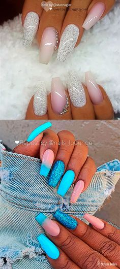 The Best Coffin Nails Ideas That Suit Everyone Glitter ombre coffin nails ideas Funky Nails, Cute Nails, Pretty Nails, Best Acrylic Nails, Summer Acrylic Nails, Summer Nails, Nail Swag, Bling Nails, My Nails