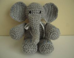 Crocheted Stuffed Amigurumi Elephant