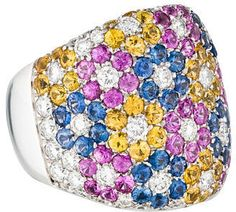 Pasquale Bruni 18K Multi Color Sapphire and Diamond Flower Ring