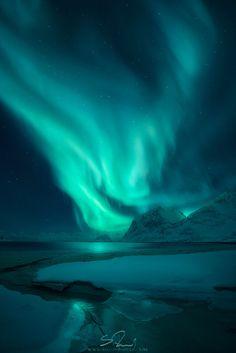 Northern Lights above Haukland Beach, Northern Norway