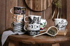 Vallila mug collection Folk Costume, Handicraft, Shapes, Traditional, Ornaments, Mugs, Tableware, Pattern, Store