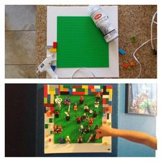 DIY LEGO minifigure display: 14x14 canvas (craft store),10x10 lego pad ($8-toy store), spray adhesive on lego pad and place centered on canvas, hot glue legos to outside, perfect fit!!! Minifigures stick to pad by the back of their legs