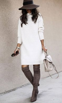 30 Winter Outfits That Are Chic And Warm - Stephanie M - - 30 Winter Outfits That Are Chic And Warm best winter outfit with a hat / white sweater dress bag brown over knee boots Winter Fashion Outfits, Fall Winter Outfits, Autumn Winter Fashion, White Sweater Dress, Sweater Dress Outfit, Sweater Dresses For Fall, White Dress Winter, White Sweaters, Fashion Mode