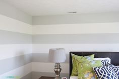 King Guest Bedroom of Life on Virginia Street. Dolphin Fin, Behr. Stripes: Swiss Coffee, Behr.