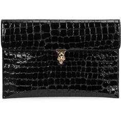 Womens Clutches Alexander McQueen Black Crocodile-effect Patent... ($580) ❤ liked on Polyvore featuring bags, handbags, clutches, skull purse, croc handbags, crocodile handbags, croc purse and patent leather clutches