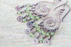 Natural spring green peridot earrings Spiral by CookOnStrike, $35.00