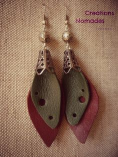 Bijoux en cuir : Boucles d'oreilles Feuille de cuir Vert et Bordeaux : Boucles d'oreille par creations-nomades