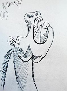 Picasso: Sketch for Guernica's Horse no.2: http://www.pablopicassoguernica.com/projects/picassoguernica/