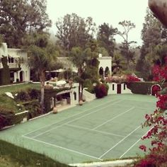 Tennis in the Tropics. The perfect excuse for a roomy bag to match the court. Outdoor Spaces, Outdoor Living, Bocce Ball Court, Building A Porch, Tennis Clubs, House With Porch, Back Gardens, Ideal Home, My Dream Home