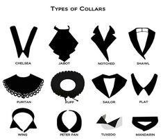 Fashion Details: Types of Collars, via Fashion Terminology, Fashion Terms, Trendy Fashion, Fashion Women, Clothes Draw, Drawing Clothes, Diy Clothes, Fashion Vocabulary, Vocabulary Clothes