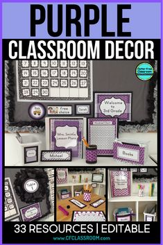 Teachers on a budget love these colorful purple classroom decor bundles b. Purple Classroom Decor, Classroom Color Scheme, Classroom Decor Themes, Classroom Ideas, Kindergarten Classroom Decor, Classroom Door, School Classroom, Binder Organization, Classroom Organization