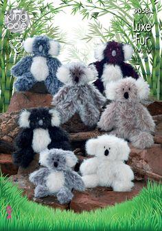 King Cole 9058 Knitting Pattern Toy Koala in King Cole Luxe Fur & Big Value Aran Double Knitting Patterns, Crochet Toys Patterns, Stuffed Toys Patterns, Yarn For Sale, Doll Display, King Cole, Macrame Plant Hangers, Bear Toy, Koala Bears