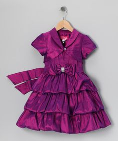 Take a look at this Purple Bow Tiered Dress & Shrug - Infant, Toddler & Girls by Angels NY on #zulily today!