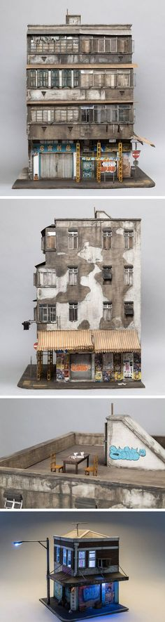 Miniature Displays of Contemporary Urban Buildings by Joshua Smith // I love the mini tea party clashing with the ugly grafitti it works haha Joshua Smith, Bg Design, Colossal Art, Tiny World, Miniature Houses, Model Building, Popup, Stop Motion, Little Houses
