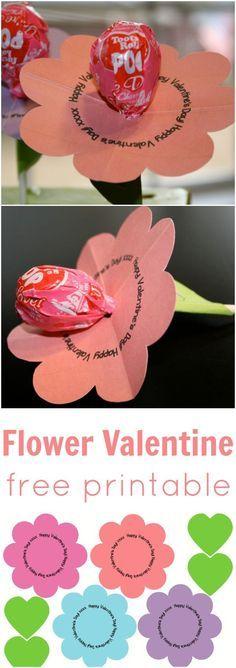Free Printable Flower Valentine - just add a sucker! Diy Valentines Cards, Valentine Crafts For Kids, Valentine Day Love, Valentines Day Party, Valentine Decorations, Valentine Gifts, Valentine Ideas, Printable Valentine, Lollipop Birthday