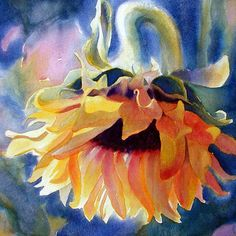 Sunflower Watercolor Print  signed limited edition  by AlisaPaints, $67.00